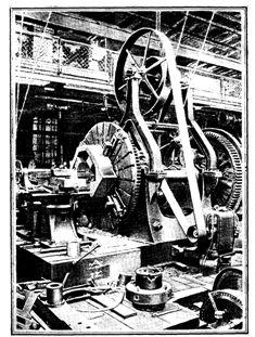 Лобовой токарный станок с приводом от электродвигателя (Франция, конец XIX в.)