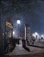 Электрическое освещение улицы в Берлине 1884 год