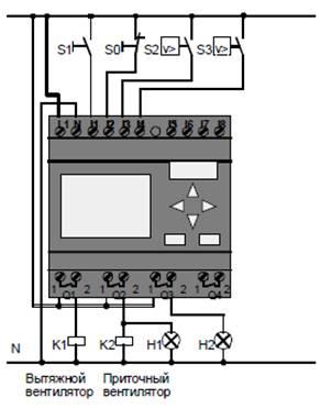 Подключение вентиляционной системы с LOGO! 230RC