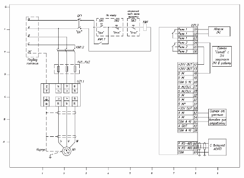 Схема подключения частотного преобразователя к двигателю