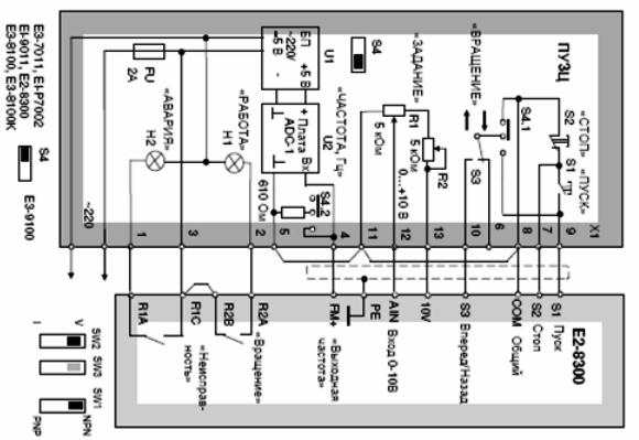 Схема подключения пульта к преобразователю Е2-8300