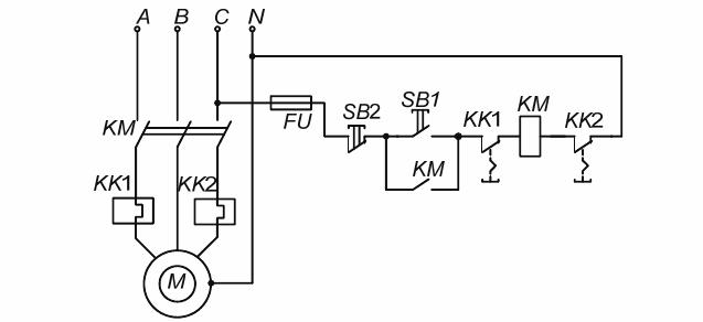 Электрическая принципиальная схема магнитного пускателя с защитой двумя однофазными тепловыми реле