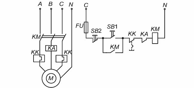 Электрическая принципиальная схема магнитного пускателя с применением реле максимального тока (реле устанавливается отдельно)