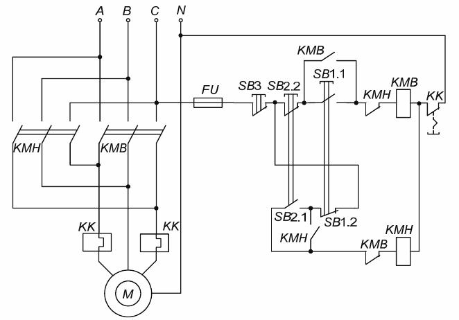 Электрическая принципиальная схема реверсивного магнитного пускателя