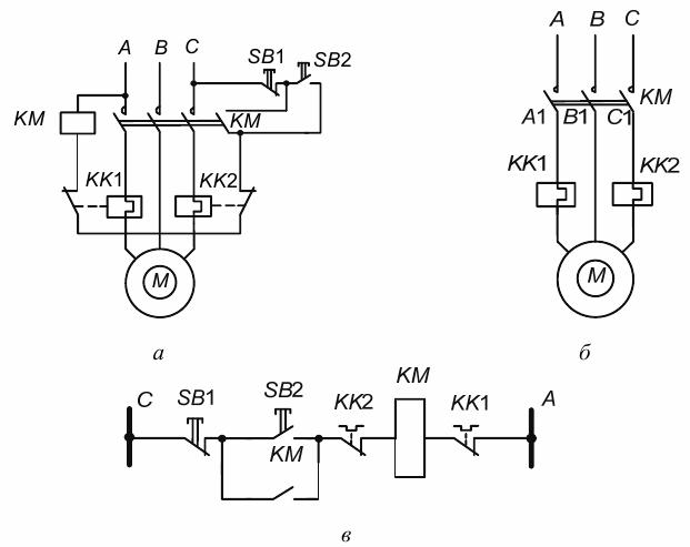 ринципиальные схемы управления асинхронным двигателем